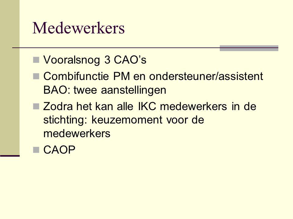 Medewerkers Vooralsnog 3 CAO's Combifunctie PM en ondersteuner/assistent BAO: twee aanstellingen Zodra het kan alle IKC medewerkers in de stichting: keuzemoment voor de medewerkers CAOP