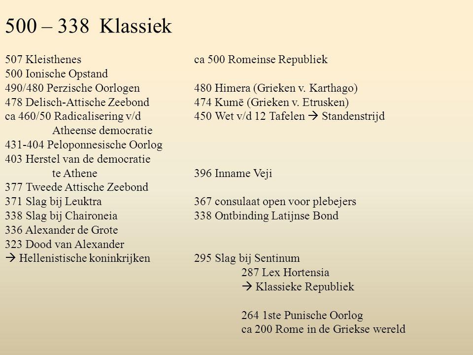500 – 338 Klassiek 507 Kleisthenes ca 500 Romeinse Republiek 500 Ionische Opstand 490/480 Perzische Oorlogen480 Himera (Grieken v. Karthago) 478 Delis