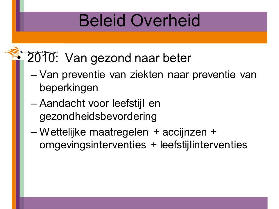 Beleid Overheid 2010: Van gezond naar beter –Van preventie van ziekten naar preventie van beperkingen –Aandacht voor leefstijl en gezondheidsbevorderi