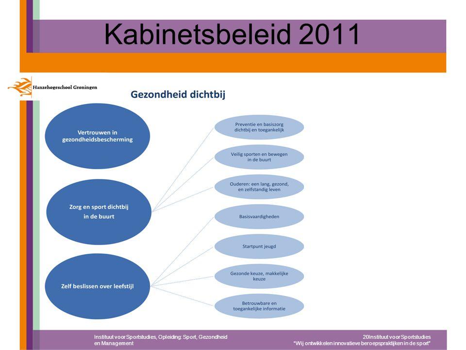 """Kabinetsbeleid 2011 Instituut voor Sportstudies, Opleiding: Sport, Gezondheid en Management 20Instituut voor Sportstudies """"Wij ontwikkelen innovatieve"""