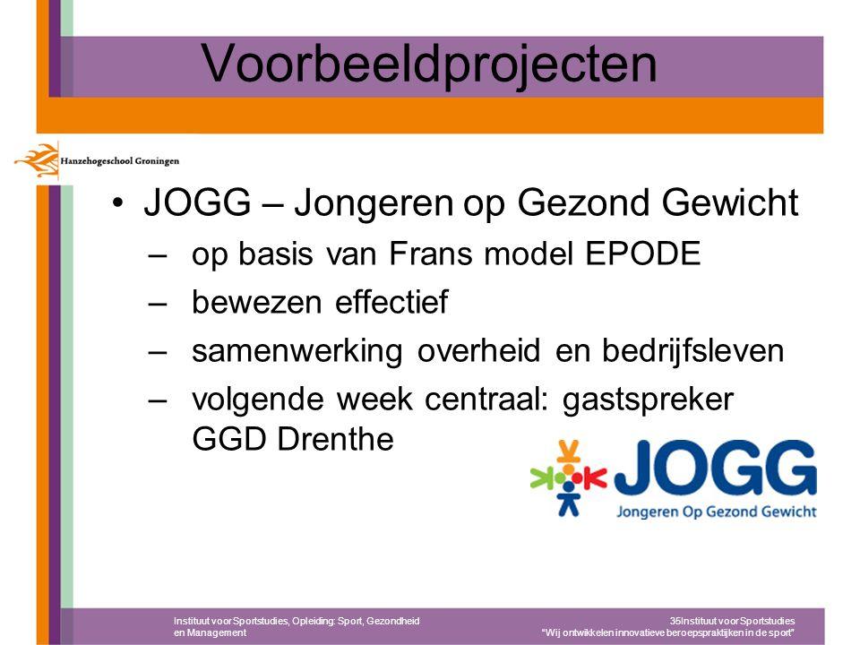 Voorbeeldprojecten JOGG – Jongeren op Gezond Gewicht –op basis van Frans model EPODE –bewezen effectief –samenwerking overheid en bedrijfsleven –volge