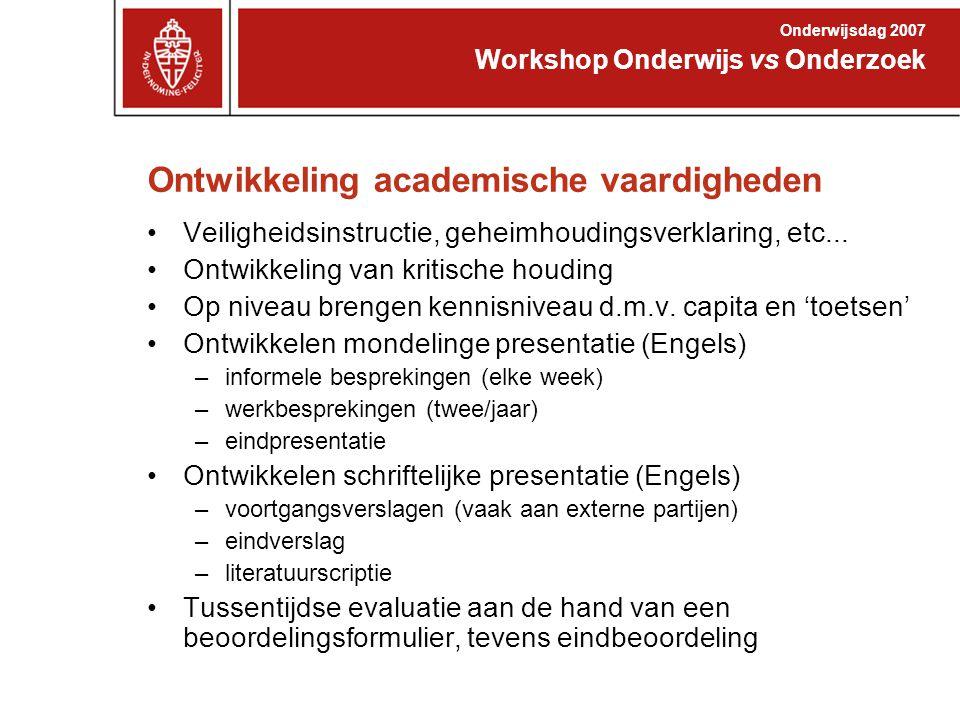 Ontwikkeling academische vaardigheden Veiligheidsinstructie, geheimhoudingsverklaring, etc...