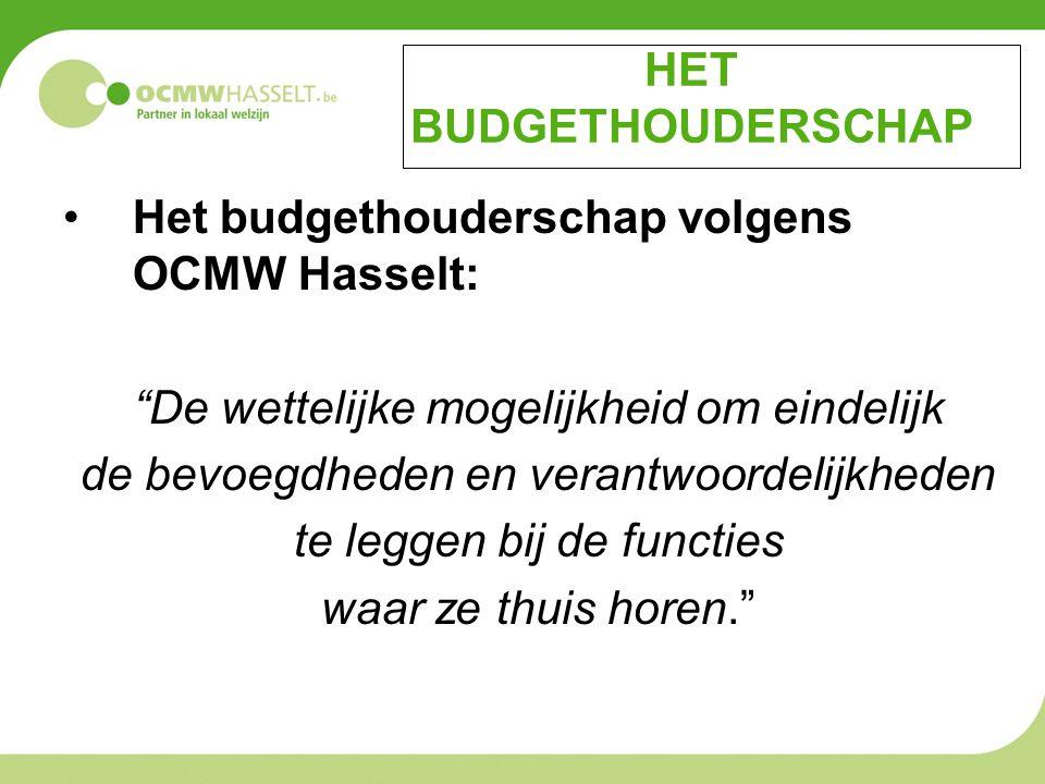 HET BUDGETHOUDERSCHAP Het budgethouderschap volgens OCMW Hasselt: De wettelijke mogelijkheid om eindelijk de bevoegdheden en verantwoordelijkheden te leggen bij de functies waar ze thuis horen.
