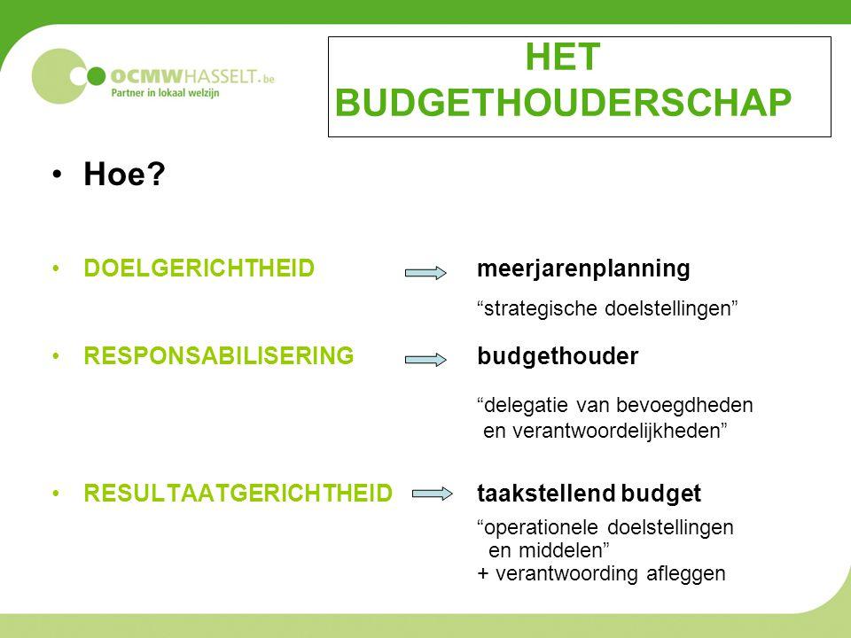"""HET BUDGETHOUDERSCHAP Hoe? DOELGERICHTHEID meerjarenplanning """"strategische doelstellingen"""" RESPONSABILISERING budgethouder """"delegatie van bevoegdheden"""