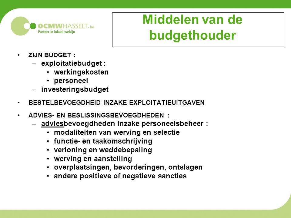 Middelen van de budgethouder ZIJN BUDGET : –exploitatiebudget : werkingskosten personeel –investeringsbudget BESTELBEVOEGDHEID INZAKE EXPLOITATIEUITGAVEN ADVIES- EN BESLISSINGSBEVOEGDHEDEN : –adviesbevoegdheden inzake personeelsbeheer : modaliteiten van werving en selectie functie- en taakomschrijving verloning en weddebepaling werving en aanstelling overplaatsingen, bevorderingen, ontslagen andere positieve of negatieve sancties