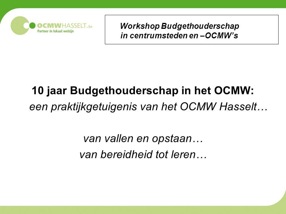 Workshop Budgethouderschap in centrumsteden en –OCMW's 10 jaar Budgethouderschap in het OCMW: een praktijkgetuigenis van het OCMW Hasselt… van vallen en opstaan… van bereidheid tot leren…