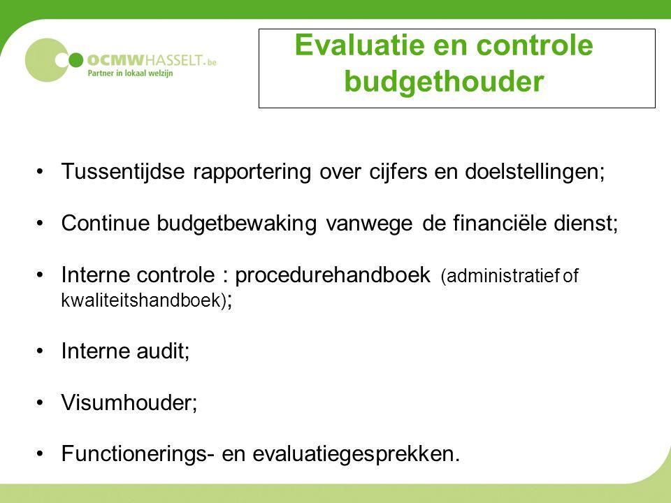 Evaluatie en controle budgethouder Tussentijdse rapportering over cijfers en doelstellingen; Continue budgetbewaking vanwege de financiële dienst; Int