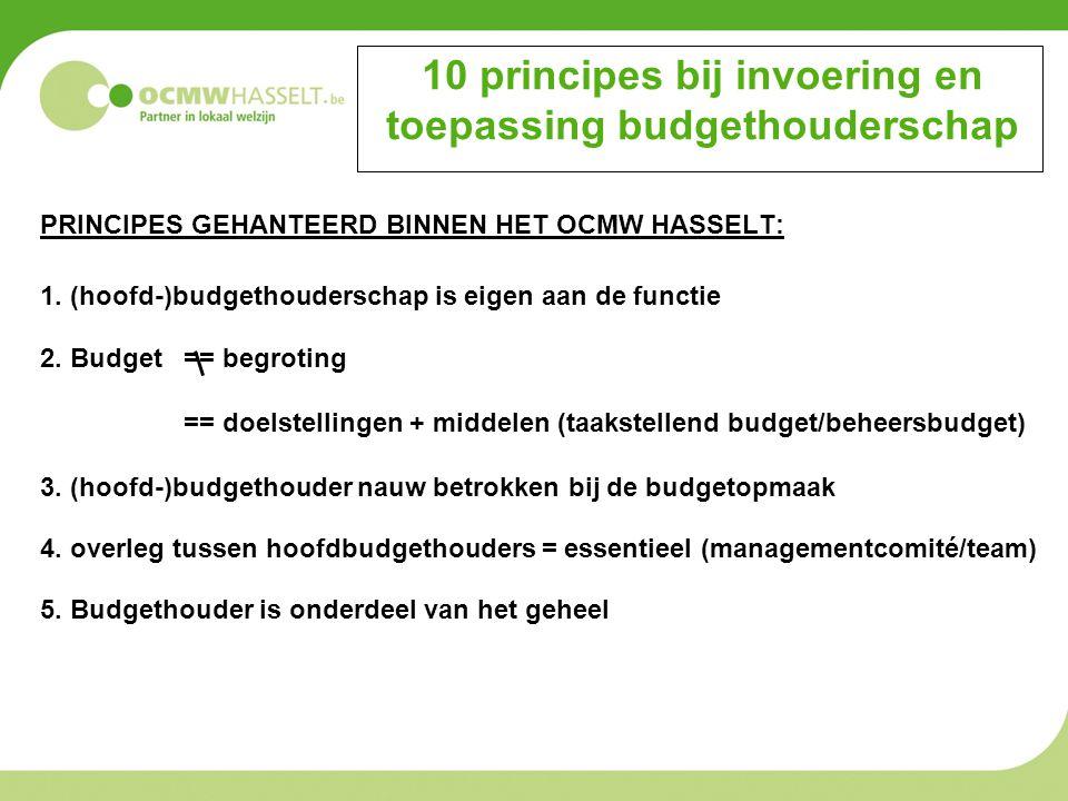 10 principes bij invoering en toepassing budgethouderschap PRINCIPES GEHANTEERD BINNEN HET OCMW HASSELT: 1. (hoofd-)budgethouderschap is eigen aan de