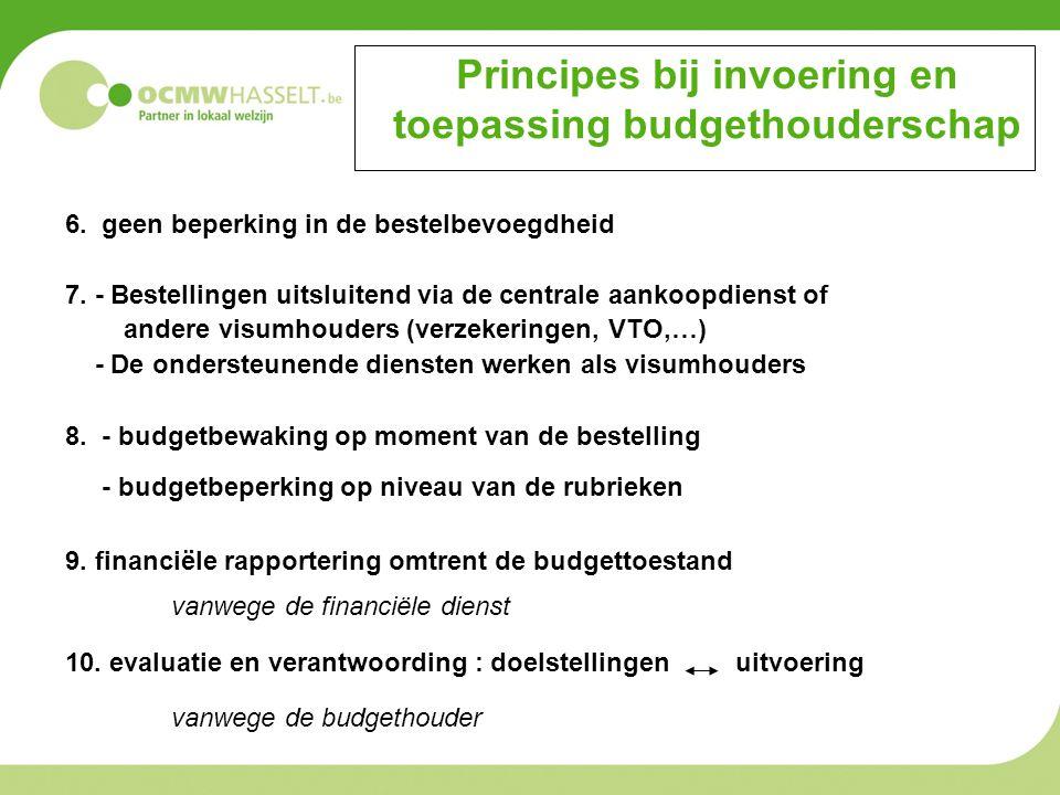 Principes bij invoering en toepassing budgethouderschap 6. geen beperking in de bestelbevoegdheid 7. - Bestellingen uitsluitend via de centrale aankoo