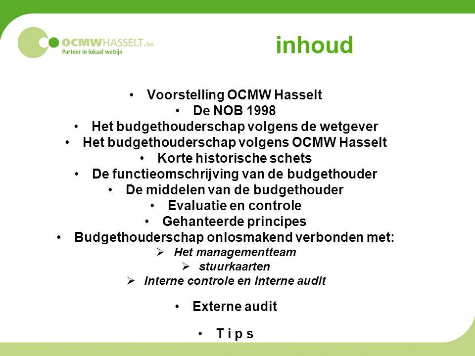 inhoud Voorstelling OCMW Hasselt De NOB 1998 Het budgethouderschap volgens de wetgever Het budgethouderschap volgens OCMW Hasselt Korte historische sc