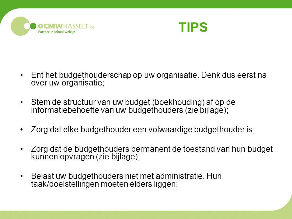 TIPS Ent het budgethouderschap op uw organisatie. Denk dus eerst na over uw organisatie; Stem de structuur van uw budget (boekhouding) af op de inform