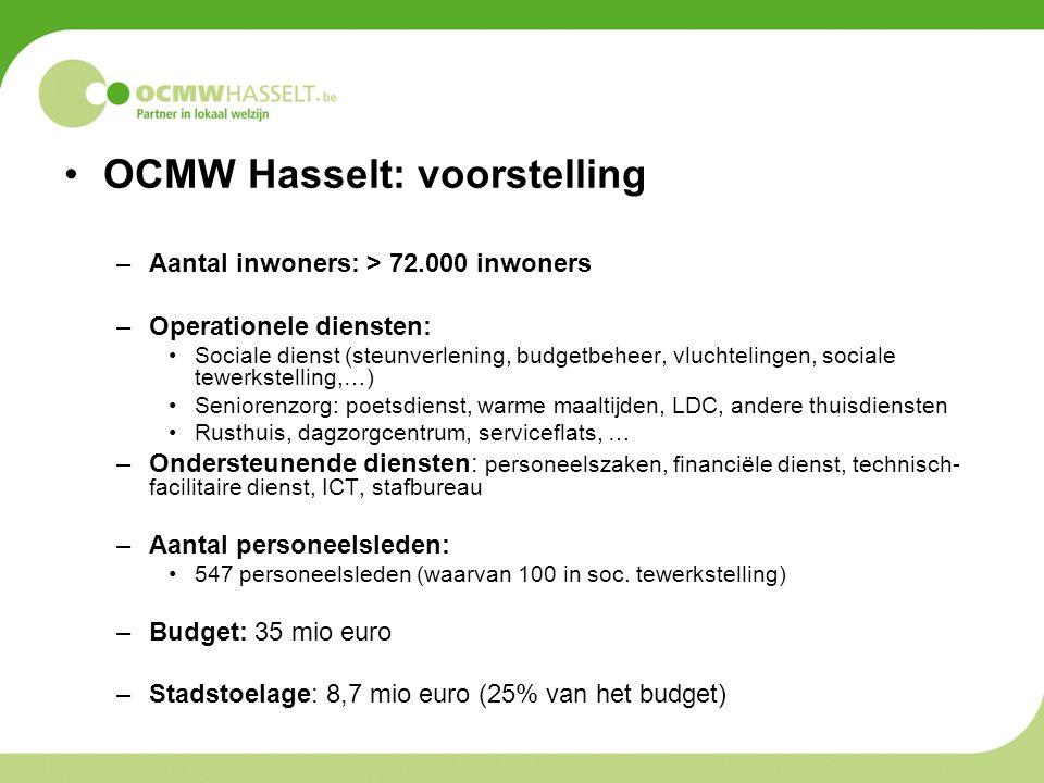 OCMW Hasselt: voorstelling –Aantal inwoners: > 72.000 inwoners –Operationele diensten: Sociale dienst (steunverlening, budgetbeheer, vluchtelingen, so