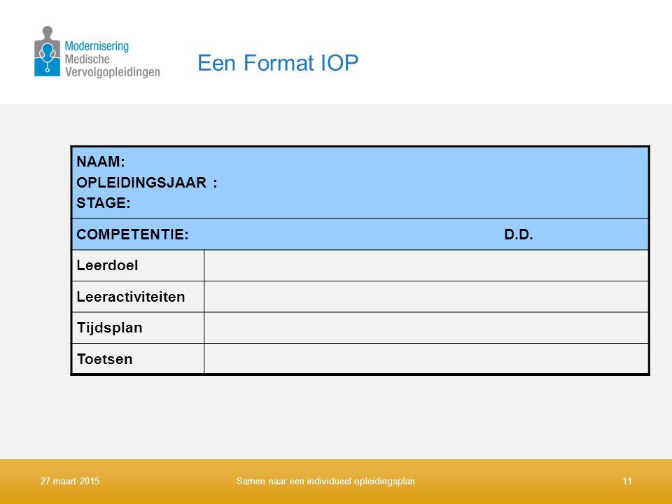 Een Format IOP NAAM: OPLEIDINGSJAAR : STAGE: COMPETENTIE: D.D. Leerdoel Leeractiviteiten Tijdsplan Toetsen 27 maart 2015 Samen naar een individueel op