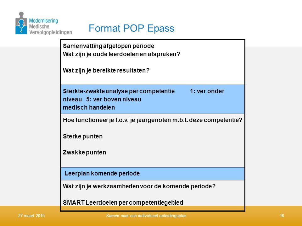 Format POP Epass Samenvatting afgelopen periode Wat zijn je oude leerdoelen en afspraken? Wat zijn je bereikte resultaten? Sterkte-zwakte analyse per