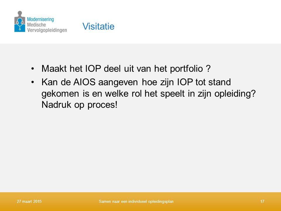 Visitatie Maakt het IOP deel uit van het portfolio ? Kan de AIOS aangeven hoe zijn IOP tot stand gekomen is en welke rol het speelt in zijn opleiding?