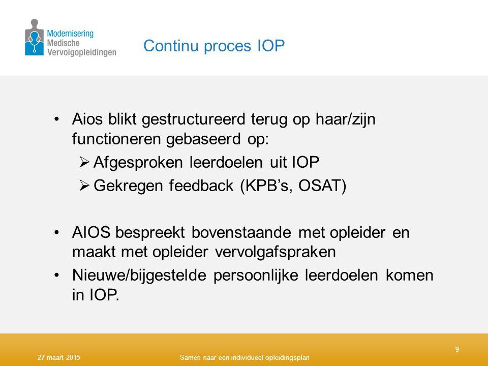 Continu proces IOP Aios blikt gestructureerd terug op haar/zijn functioneren gebaseerd op:  Afgesproken leerdoelen uit IOP  Gekregen feedback (KPB's, OSAT) AIOS bespreekt bovenstaande met opleider en maakt met opleider vervolgafspraken Nieuwe/bijgestelde persoonlijke leerdoelen komen in IOP.