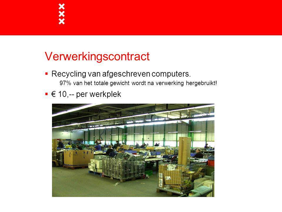 Verwerkingscontract  Recycling van afgeschreven computers. 97% van het totale gewicht wordt na verwerking hergebruikt!  € 10,-- per werkplek