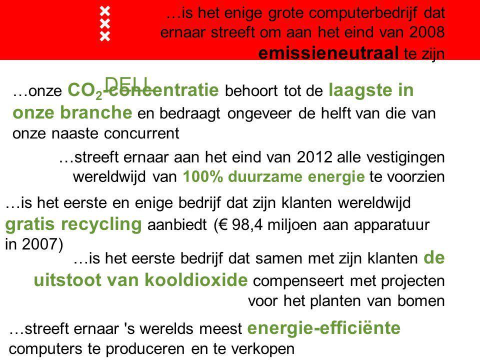 DELL …is het enige grote computerbedrijf dat ernaar streeft om aan het eind van 2008 emissieneutraal te zijn …is het eerste en enige bedrijf dat zijn klanten wereldwijd gratis recycling aanbiedt (€ 98,4 miljoen aan apparatuur in 2007) …is het eerste bedrijf dat samen met zijn klanten de uitstoot van kooldioxide compenseert met projecten voor het planten van bomen …streeft ernaar s werelds meest energie-efficiënte computers te produceren en te verkopen …onze CO 2 -concentratie behoort tot de laagste in onze branche en bedraagt ongeveer de helft van die van onze naaste concurrent …streeft ernaar aan het eind van 2012 alle vestigingen wereldwijd van 100% duurzame energie te voorzien