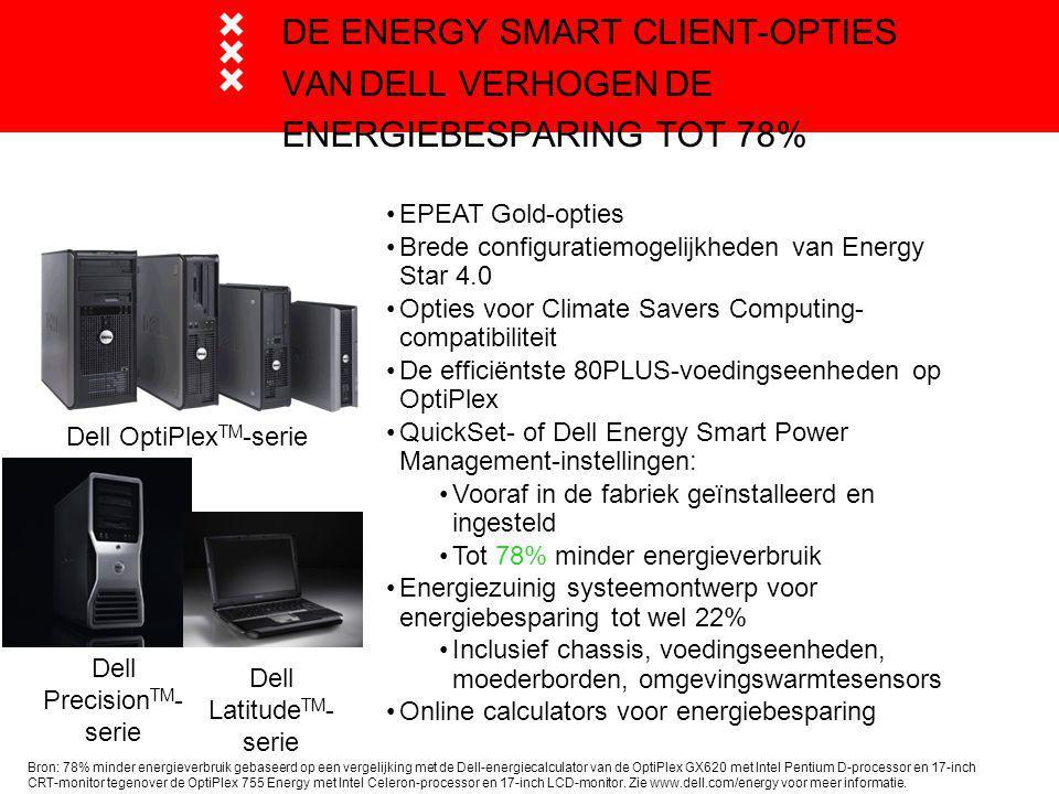DE ENERGY SMART CLIENT-OPTIES VAN DELL VERHOGEN DE ENERGIEBESPARING TOT 78% EPEAT Gold-opties Brede configuratiemogelijkheden van Energy Star 4.0 Opties voor Climate Savers Computing- compatibiliteit De efficiëntste 80PLUS-voedingseenheden op OptiPlex QuickSet- of Dell Energy Smart Power Management-instellingen: Vooraf in de fabriek geïnstalleerd en ingesteld Tot 78% minder energieverbruik Energiezuinig systeemontwerp voor energiebesparing tot wel 22% Inclusief chassis, voedingseenheden, moederborden, omgevingswarmtesensors Online calculators voor energiebesparing Dell OptiPlex TM -serie Dell Latitude TM - serie Dell Precision TM - serie Bron: 78% minder energieverbruik gebaseerd op een vergelijking met de Dell-energiecalculator van de OptiPlex GX620 met Intel Pentium D-processor en 17-inch CRT-monitor tegenover de OptiPlex 755 Energy met Intel Celeron-processor en 17-inch LCD-monitor.