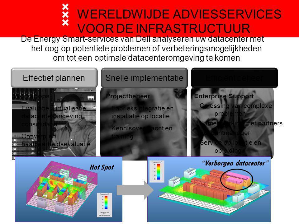WERELDWIJDE ADVIESSERVICES VOOR DE INFRASTRUCTUUR Verborgen datacenter DELL VERTROUWELIJK Hot Spot De Energy Smart-services van Dell analyseren uw datacenter met het oog op potentiële problemen of verbeteringsmogelijkheden om tot een optimale datacenteromgeving te komen Effectief plannen Workshops Evaluatie: virtualisatie, datacenteromgeving, consolidatie Ontwerp en haalbaarheidsevaluatie Snelle implementatie Projectbeheer Fabrieksintegratie en installatie op locatie Kennisoverdracht en training Efficiënt beheer Enterprise Support Oplossing van complexe problemen Samenwerking met partners Accountmanager Service op locatie en opleiding