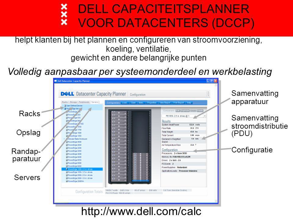 DELL CAPACITEITSPLANNER VOOR DATACENTERS (DCCP) http://www.dell.com/calc Racks Opslag Randap- paratuur Servers Samenvatting apparatuur Samenvatting stroomdistributie (PDU) Configuratie Volledig aanpasbaar per systeemonderdeel en werkbelasting helpt klanten bij het plannen en configureren van stroomvoorziening, koeling, ventilatie, gewicht en andere belangrijke punten
