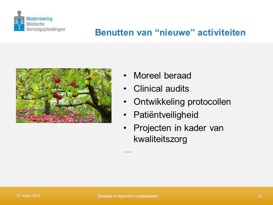 """Benutten van """"nieuwe"""" activiteiten Moreel beraad Clinical audits Ontwikkeling protocollen Patiëntveiligheid Projecten in kader van kwaliteitszorg...."""