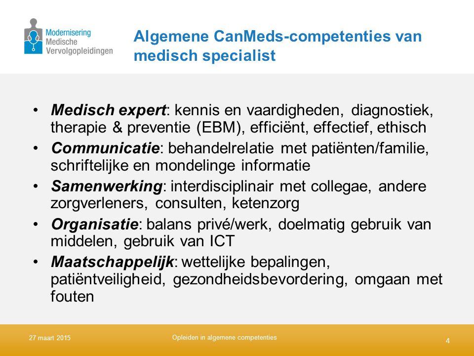 Algemene CanMeds-competenties van medisch specialist Medisch expert: kennis en vaardigheden, diagnostiek, therapie & preventie (EBM), efficiënt, effec