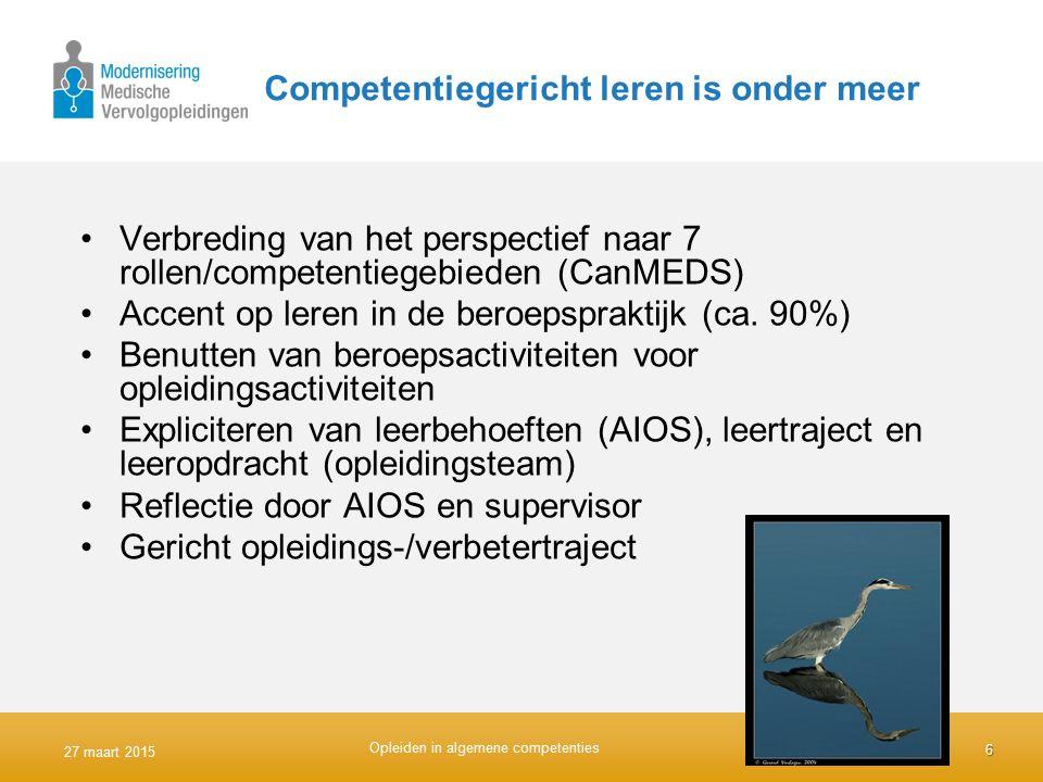 Competentiegericht leren is onder meer Verbreding van het perspectief naar 7 rollen/competentiegebieden (CanMEDS) Accent op leren in de beroepspraktij
