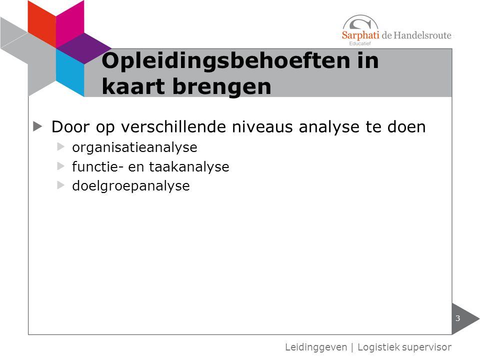 Door op verschillende niveaus analyse te doen organisatieanalyse functie- en taakanalyse doelgroepanalyse 3 Leidinggeven   Logistiek supervisor Opleid