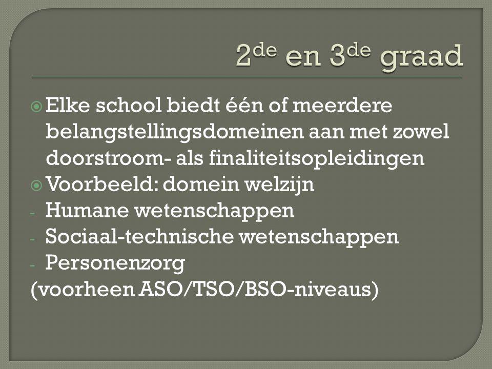  Elke school biedt één of meerdere belangstellingsdomeinen aan met zowel doorstroom- als finaliteitsopleidingen  Voorbeeld: domein welzijn - Humane wetenschappen - Sociaal-technische wetenschappen - Personenzorg (voorheen ASO/TSO/BSO-niveaus)
