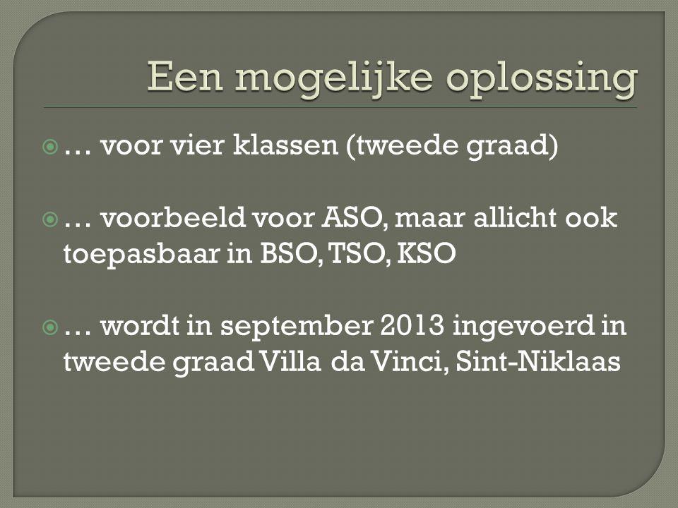  … voor vier klassen (tweede graad)  … voorbeeld voor ASO, maar allicht ook toepasbaar in BSO, TSO, KSO  … wordt in september 2013 ingevoerd in tweede graad Villa da Vinci, Sint-Niklaas