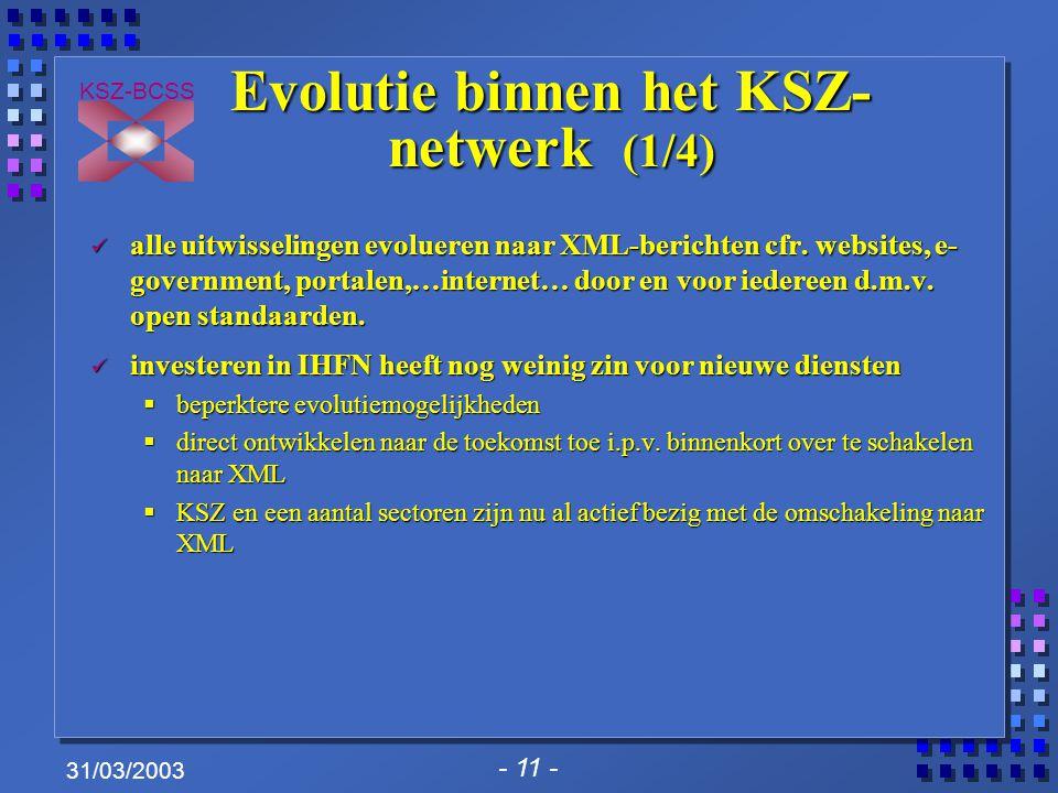 - 11 - KSZ-BCSS 31/03/2003 Evolutie binnen het KSZ- netwerk (1/4) alle uitwisselingen evolueren naar XML-berichten cfr.