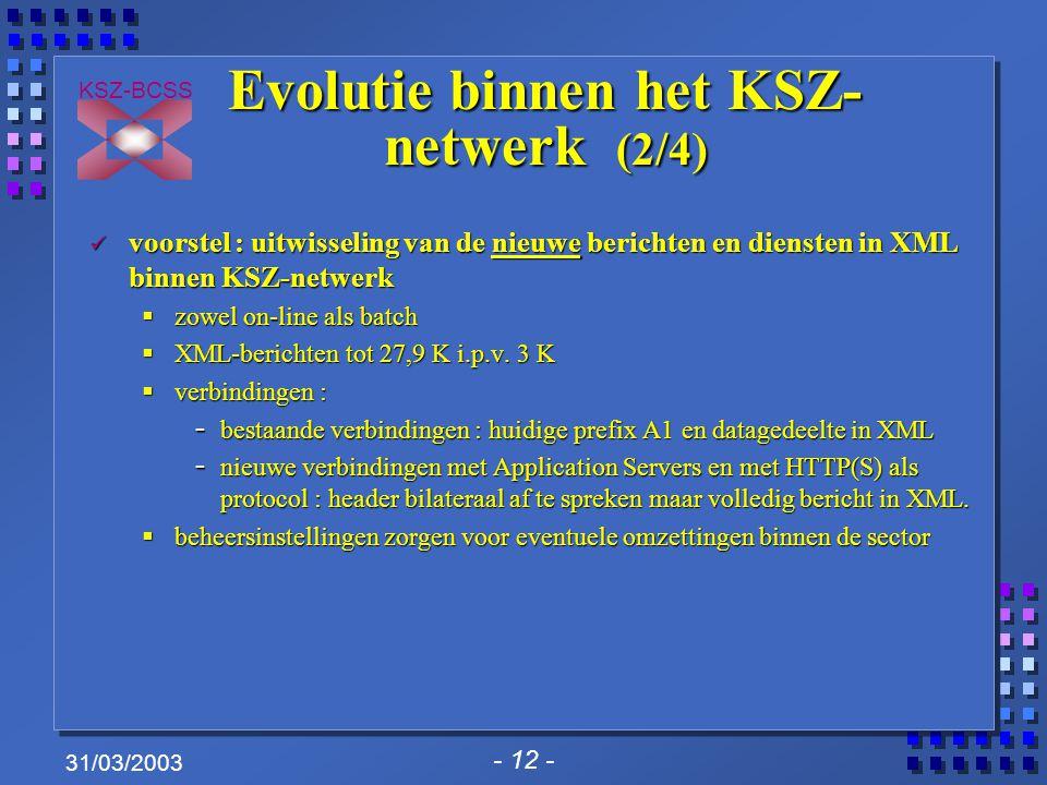 - 12 - KSZ-BCSS 31/03/2003 Evolutie binnen het KSZ- netwerk (2/4) voorstel : uitwisseling van de nieuwe berichten en diensten in XML binnen KSZ-netwerk voorstel : uitwisseling van de nieuwe berichten en diensten in XML binnen KSZ-netwerk  zowel on-line als batch  XML-berichten tot 27,9 K i.p.v.