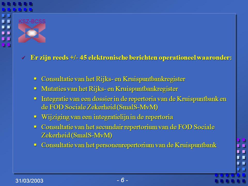 - 6 - KSZ-BCSS 31/03/2003 Er zijn reeds +/- 45 elektronische berichten operationeel waaronder: Er zijn reeds +/- 45 elektronische berichten operationeel waaronder:  Consultatie van het Rijks- en Kruispuntbankregister  Mutaties van het Rijks- en Kruispuntbankregister  Integratie van een dossier in de repertoria van de Kruispuntbank en de FOD Sociale Zekerheid (SmalS-MvM)  Wijziging van een integratielijn in de repertoria  Consultatie van het secundair repertorium van de FOD Sociale Zekerheid (SmalS-MvM)  Consultatie van het personenrepertorium van de Kruispuntbank