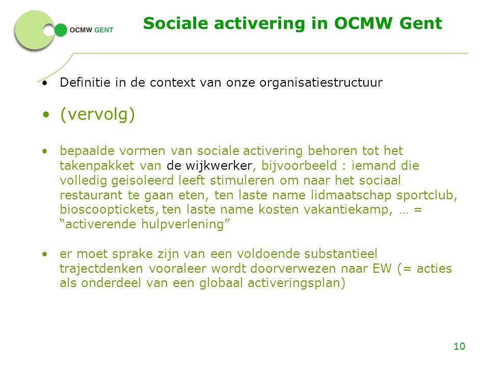 Sociale activering in OCMW Gent Definitie in de context van onze organisatiestructuur (vervolg) bepaalde vormen van sociale activering behoren tot het