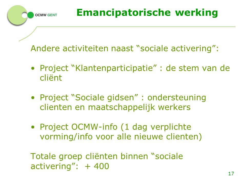 """17 Emancipatorische werking Andere activiteiten naast """"sociale activering"""": Project """"Klantenparticipatie"""" : de stem van de cliënt Project """"Sociale gid"""