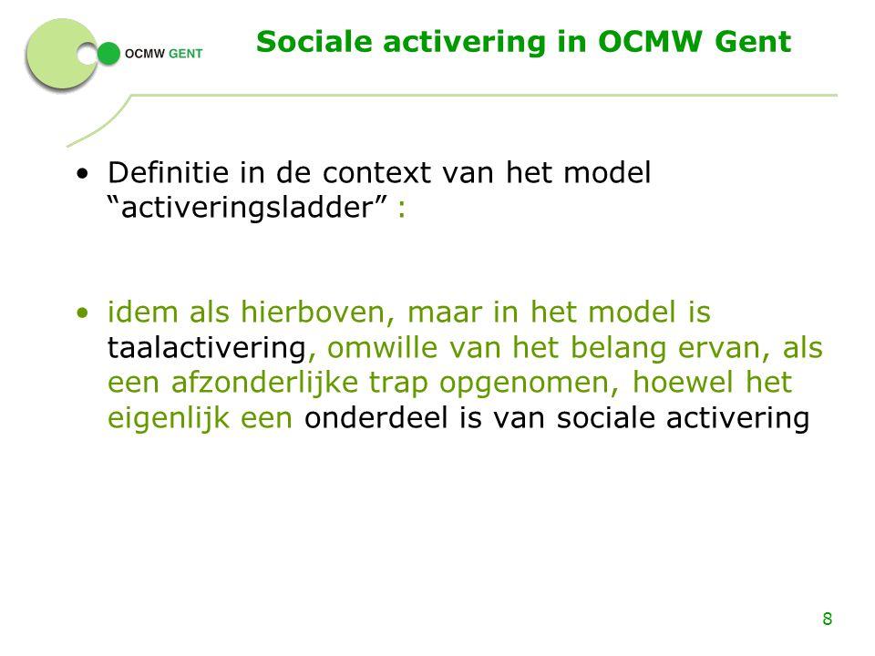 """Sociale activering in OCMW Gent Definitie in de context van het model """"activeringsladder"""" : idem als hierboven, maar in het model is taalactivering, o"""