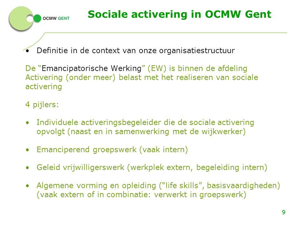 """Sociale activering in OCMW Gent Definitie in de context van onze organisatiestructuur De """"Emancipatorische Werking"""" (EW) is binnen de afdeling Activer"""