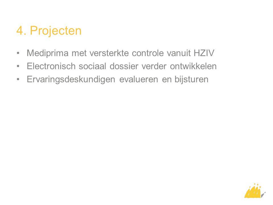 4. Projecten Mediprima met versterkte controle vanuit HZIV Electronisch sociaal dossier verder ontwikkelen Ervaringsdeskundigen evalueren en bijsturen