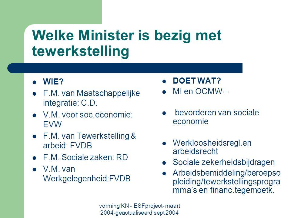 vorming KN - ESFproject- maart 2004-geactualiseerd sept 2004 Welke Minister is bezig met tewerkstelling WIE.