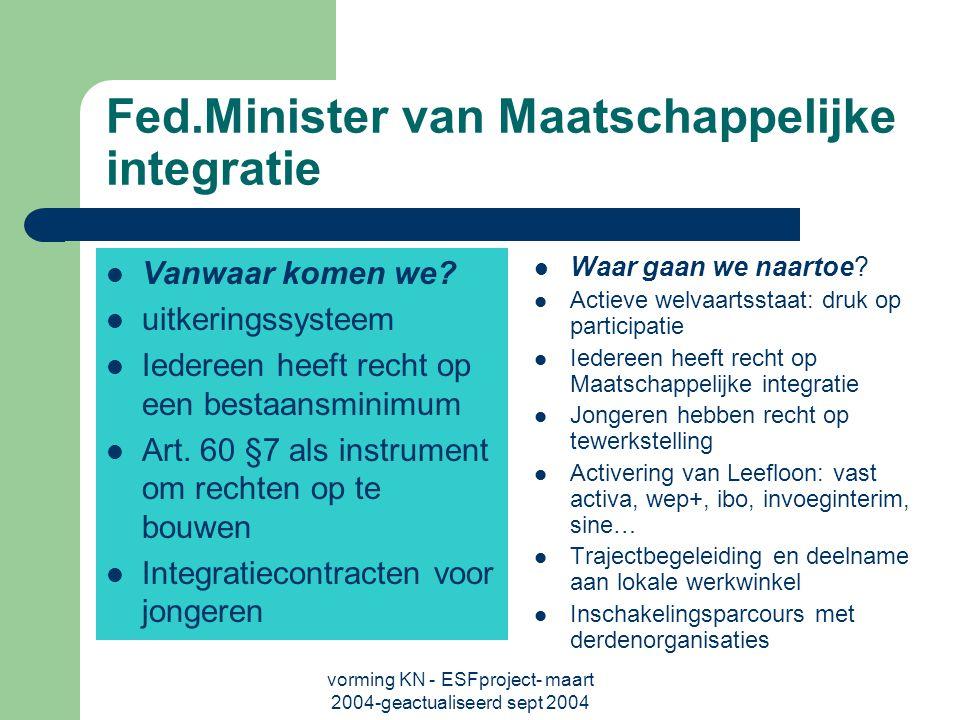 vorming KN - ESFproject- maart 2004-geactualiseerd sept 2004 Fed.Minister van Maatschappelijke integratie Vanwaar komen we.