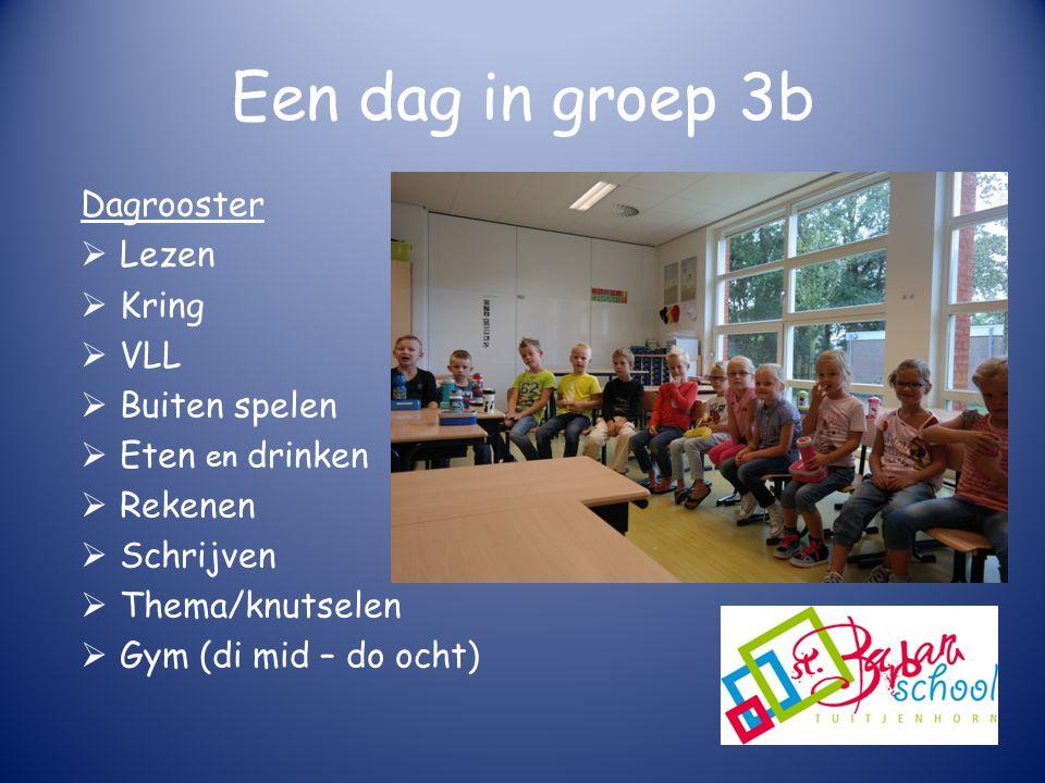 Een dag in groep 3b Dagrooster  Lezen  Kring  VLL  Buiten spelen  Eten en drinken  Rekenen  Schrijven  Thema/knutselen  Gym (di mid – do ocht)