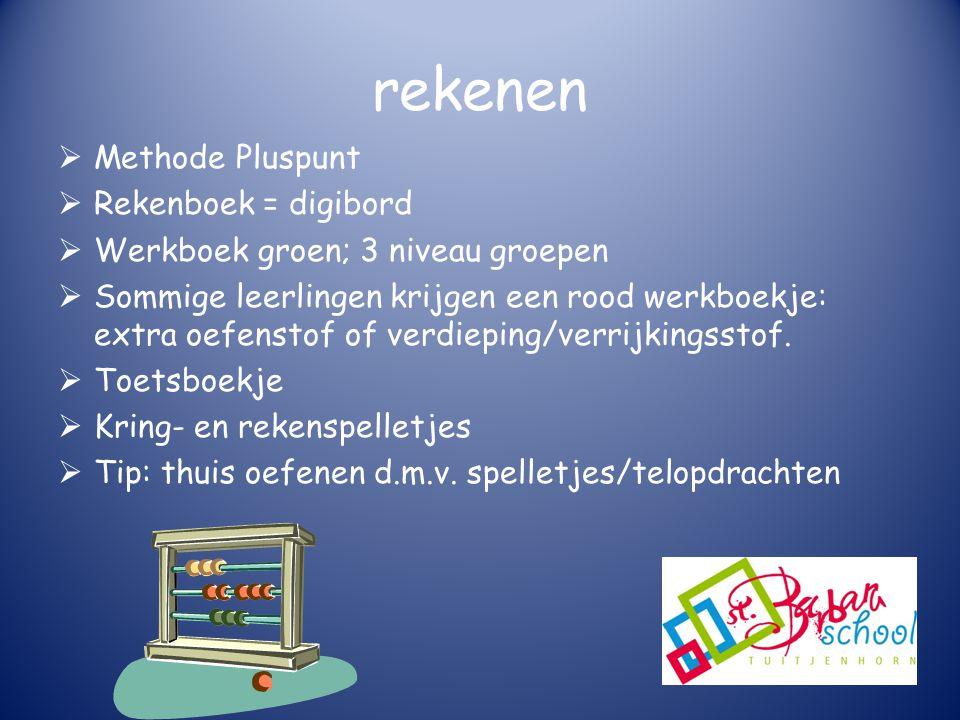 rekenen  Methode Pluspunt  Rekenboek = digibord  Werkboek groen; 3 niveau groepen  Sommige leerlingen krijgen een rood werkboekje: extra oefenstof of verdieping/verrijkingsstof.