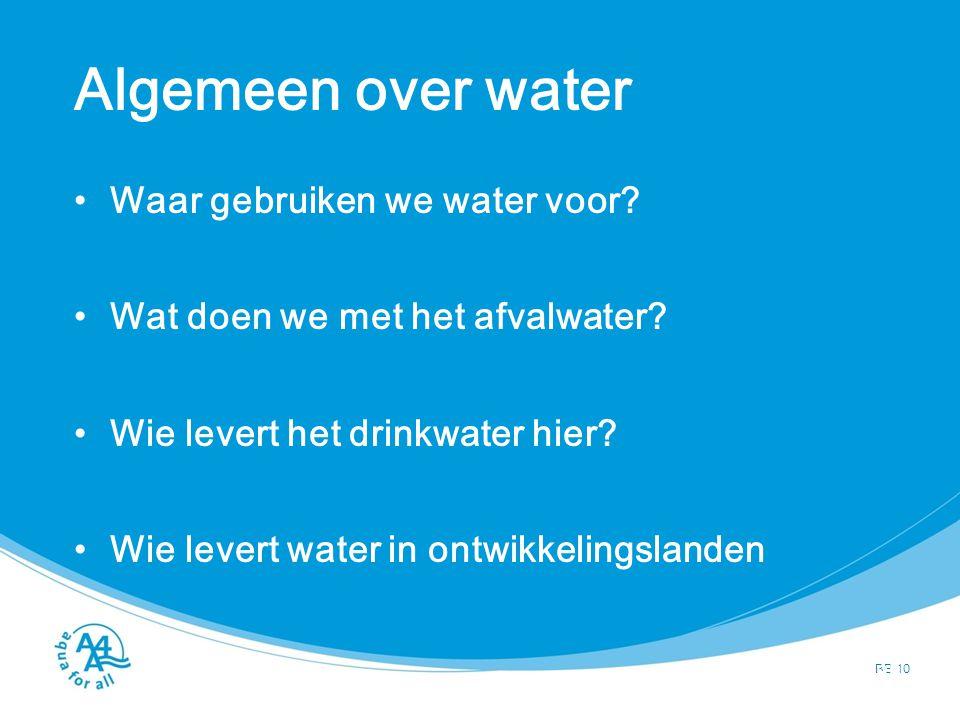 Algemeen over water Waar gebruiken we water voor? Wat doen we met het afvalwater? Wie levert het drinkwater hier? Wie levert water in ontwikkelingslan