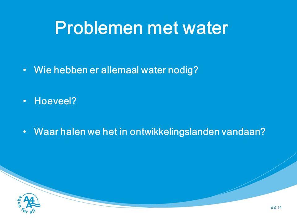Problemen met water Wie hebben er allemaal water nodig? Hoeveel? Waar halen we het in ontwikkelingslanden vandaan? BB 14