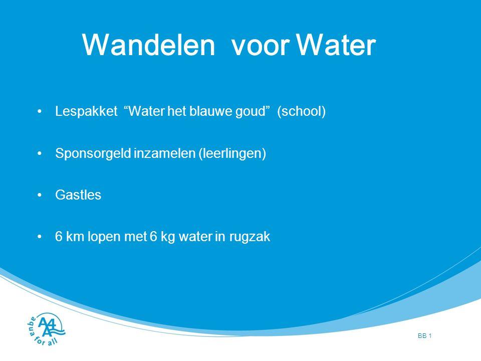 BB 2 Wat moet aan de orde komen Situatie in Nederland Situatie in ontwikkelingslanden Informatie over het project Algemene informatie over Wandelen voor Water