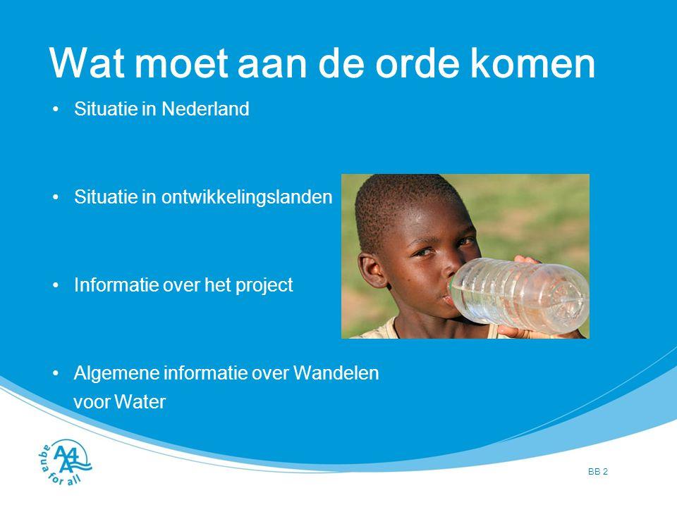 BB 2 Wat moet aan de orde komen Situatie in Nederland Situatie in ontwikkelingslanden Informatie over het project Algemene informatie over Wandelen vo