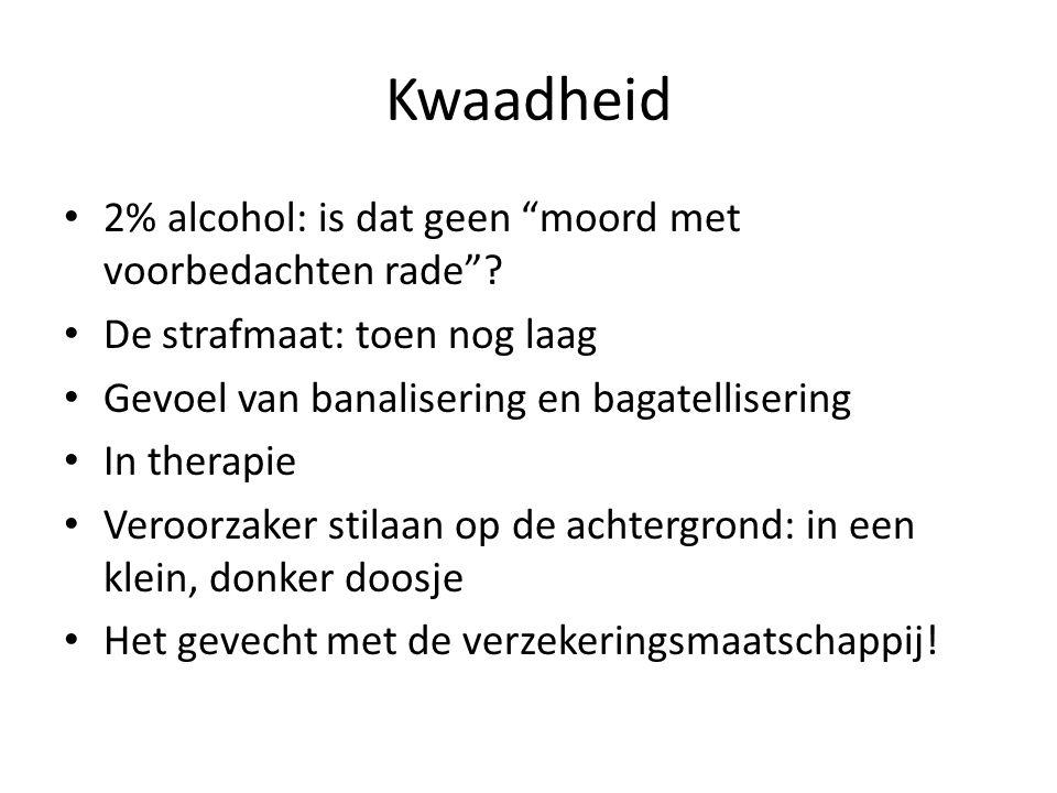 "Kwaadheid 2% alcohol: is dat geen ""moord met voorbedachten rade""? De strafmaat: toen nog laag Gevoel van banalisering en bagatellisering In therapie V"
