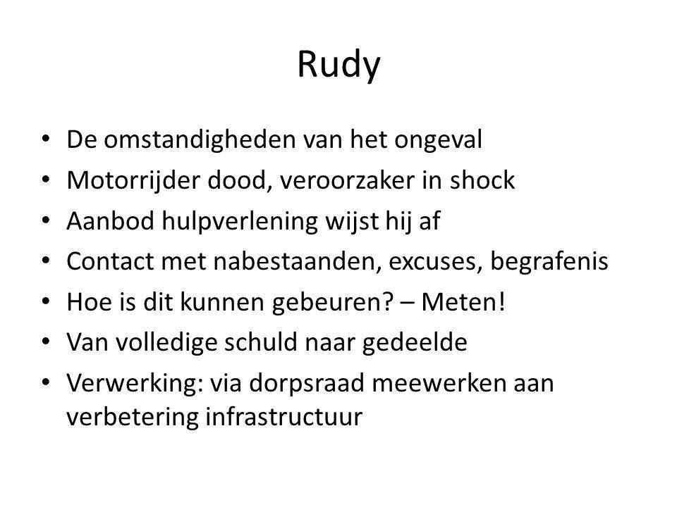 Rudy De omstandigheden van het ongeval Motorrijder dood, veroorzaker in shock Aanbod hulpverlening wijst hij af Contact met nabestaanden, excuses, beg