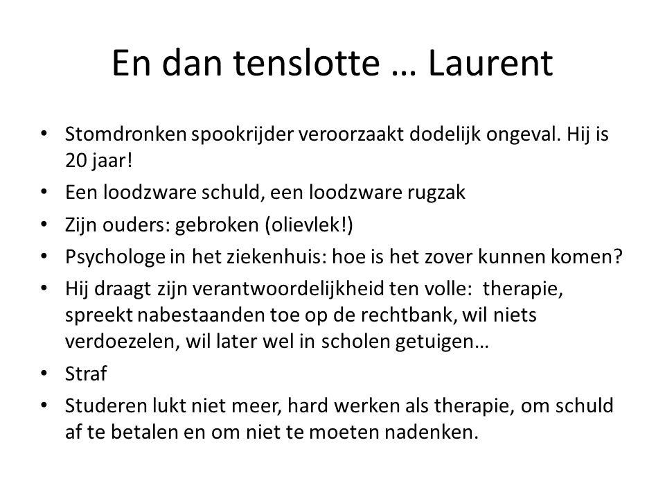 En dan tenslotte … Laurent Stomdronken spookrijder veroorzaakt dodelijk ongeval. Hij is 20 jaar! Een loodzware schuld, een loodzware rugzak Zijn ouder